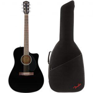 Fender CD-60SCE Black elektrisch-akoestische westerngitaar + gigbag