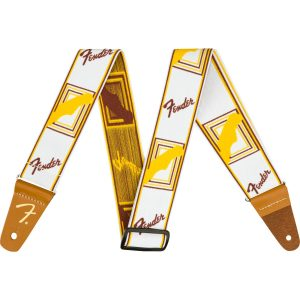 """Fender Weighless 2"""" Monogrammed Strap White/Brown/Yellow gitaarband"""