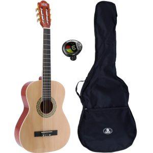 LaPaz 002 NT klassieke gitaar 3/4-formaat naturel + gigbag + stemapparaat