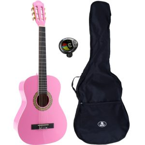 LaPaz 002 PI klassieke gitaar 3/4-formaat roze + gigbag + stemapparaat