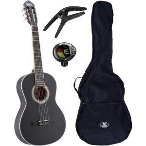LaPaz C30BK klassieke gitaar 3/4-formaat zwart + gigbag + accessoires